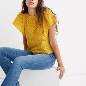 [NWT] Madewell Eyelet Flutter-Sleeve Top in Gold